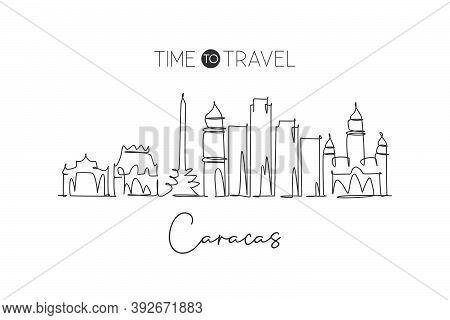 Single Continuous Line Drawing Of Caracas City Skyline, Venezuela. Famous City Scraper And Landscape