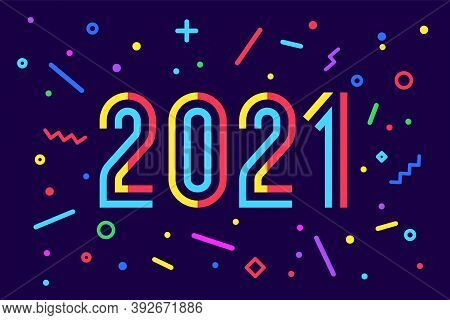 2021, Happy New Year. Greeting Card With Inscription Happy New Year 2021. Memphis Geometric Bright S