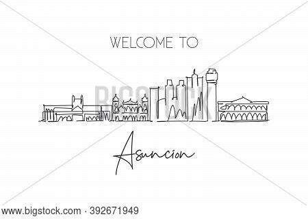 Single Continuous Line Drawing Of Asuncion City Skyline, Paraguay. Famous City Scraper And Landscape