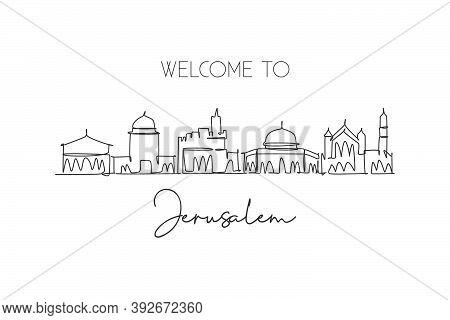 One Continuous Line Drawing Jerusalem Holy City Skyline, Palestine. Beautiful Landmark. World Landsc