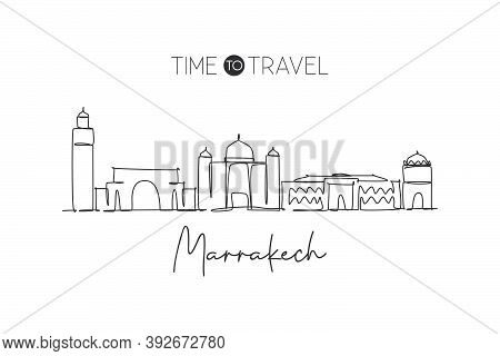 One Single Line Drawing Of Marrakesh City Skyline, Morocco. Historical Town Landscape In The World.