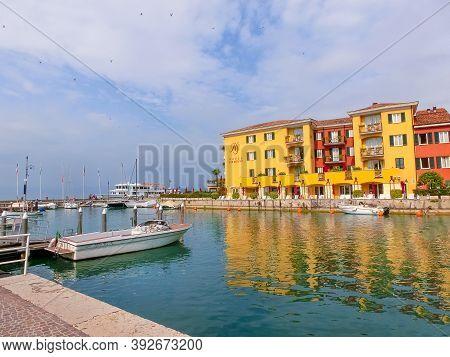 Sirmione, Italy - September 20, 2014: Lake Garda. The World-famous European Sermione Hotel At Sirmio