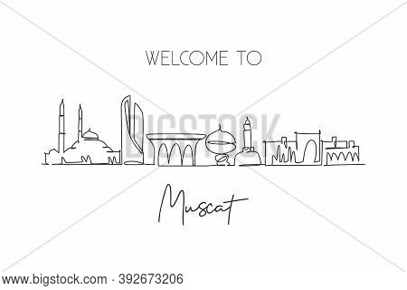 One Continuous Line Drawing Of Muscat Skyline, Oman. Beautiful City Landmark Wall Decor Poster Print