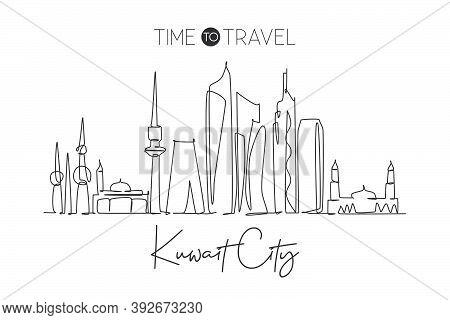 One Continuous Line Drawing Of Kuwait City Skyline, Kuwait. Beautiful City Landmark. World Landscape