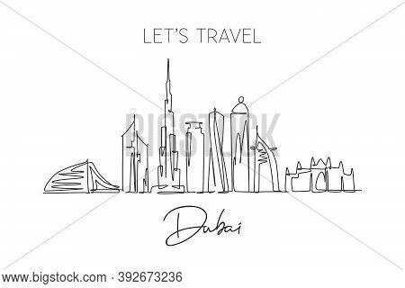 One Single Line Drawing Of Dubai City Skyline, United Arab Emirates. Historical Landscape Postcard A