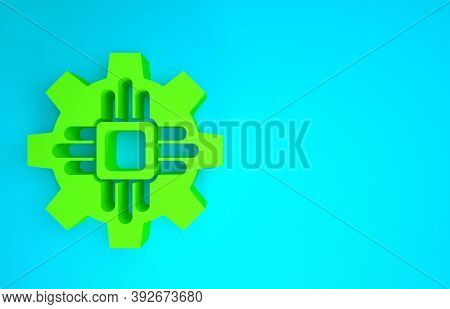 Green Processor Icon Isolated On Blue Background. Cpu, Central Processing Unit, Microchip, Microcirc