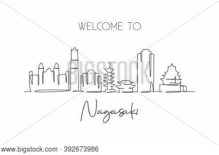 One Continuous Line Drawing Of Nagasaki City Skyline, Japan. Beautiful Landmark. World Landscape Tou