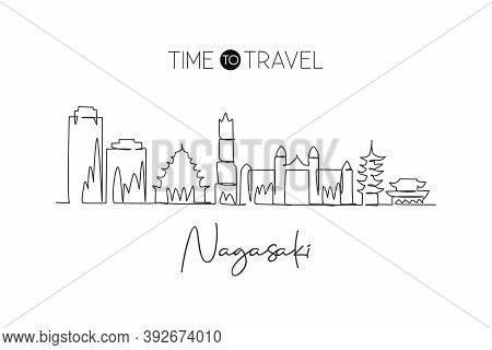 One Single Line Drawing Of Nagasaki City Skyline, Japan. Historical Town Landscape In The World. Bes