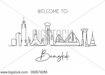 One Continuous Line Drawing Of Bangkok City Skyline, Thailand. Beautiful Landmark. World Landscape T