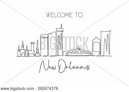Single Continuous Line Drawing New Orleans City Skyline, Louisiana, Usa. Famous City Landscape. Worl