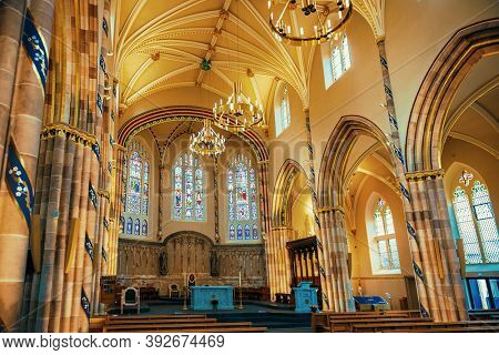 GLASGOW, UK - FEB 26, 2020: Glasgow Cathedral interior view in Scotland, United Kingdom