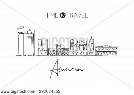 One Continuous Line Drawing Of Asuncion City Skyline, Paraguay. Beautiful Landmark. World Landscape