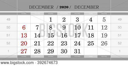 December 2020 Quarterly Calendar Block. Wall Calendar In English, Week Starts From Sunday. Vector Il