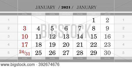 January 2021 Quarterly Calendar Block. Wall Calendar In English, Week Starts From Sunday. Vector Ill