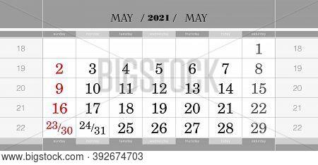 May 2021 Quarterly Calendar Block. Wall Calendar In English, Week Starts From Sunday. Vector Illustr