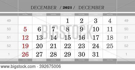 December 2021 Quarterly Calendar Block. Wall Calendar In English, Week Starts From Sunday. Vector Il