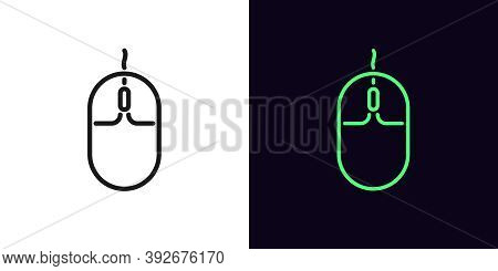 Outline Computer Mouse Icon. Linear Mouse Sign, Isolated Gaming Mouse Device With Editable Stroke. G