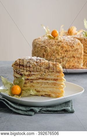 Russian Traditional Cake Napoleon. Homemade Custard Puff Cake.