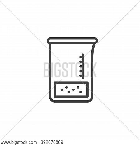 Medical Measuring Cup Line Icon. Chemical Beaker Linear Style Sign For Mobile Concept And Web Design