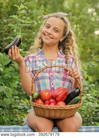 Eco Farming. Girl Cute Smiling Child Living Healthy Life. Healthy Lifestyle. Eat Healthy. Summer Har