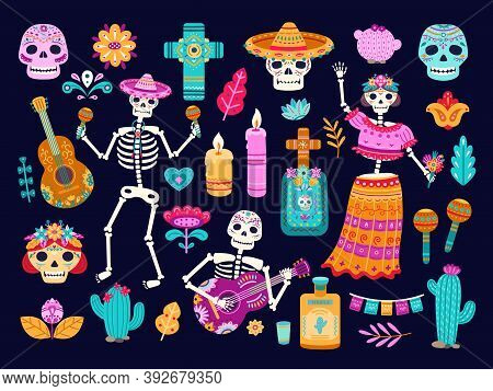 Day Of Dead. Mexican Decorations, Cute Skull Skeletons Flowers. Cartoon Mexico Authentic Death Cultu