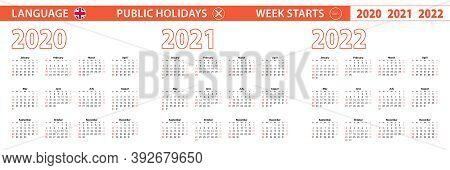 2020, 2021, 2022 Year Vector Calendar In English Language, Week Starts On Sunday. Vector Calendar.
