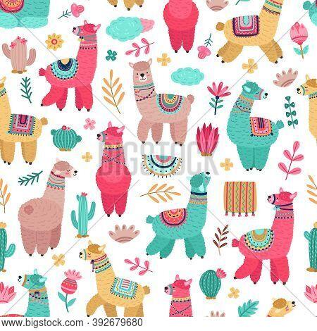 Llama Pattern. Drawing Animals, Cartoon Llamas Cactus Seamless Texture. Cute Baby Alpaca Print, Crea