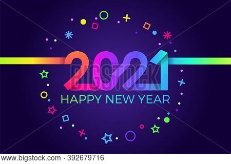 2021 Happy New Year. Paper Memphis Geometric Bright Style For Holidays Flyers, Greetings, Invitation