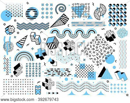 Memphis Minimal Geometric Shapes. Halftone Grid Elements, Pop Art Design Triangle Graphics Texture.