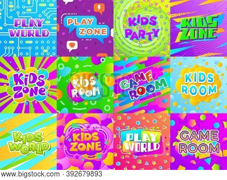 Game Room Banners. Kid Fun Signs, Child Playground Play Area Stickers. Color Typography Entertainmen