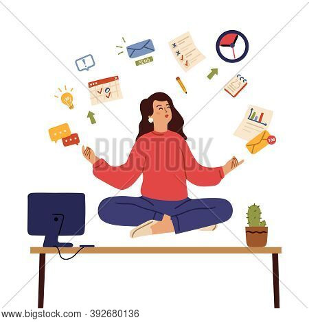 Business Woman Meditate. Calm Emotions, Healing Body And Mind On Office. Girl Control Stress Yoga Me