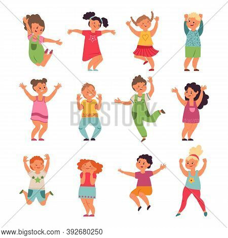 Happy Kids. Cartoon Children, Preschool Jumping Girls Boys. Emotional Little Funny People Playing, I