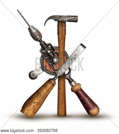 Realistic Diy Old Carpenter Hand Tools Crossed For Get The Job Done Service Concept, Isolated On Whi