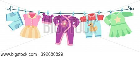 Flat Children Clothes. Colorful Dresses, Little Kid Unisex Apparel On Clothesline. Isolated Element
