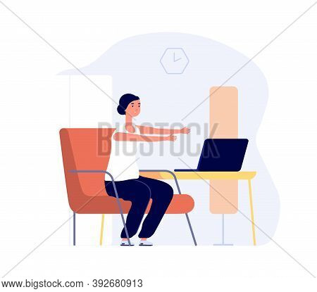 Home Training. Woman Work With Laptop, Office Syndrome Preparation. Girl Stretching Vector Concept.