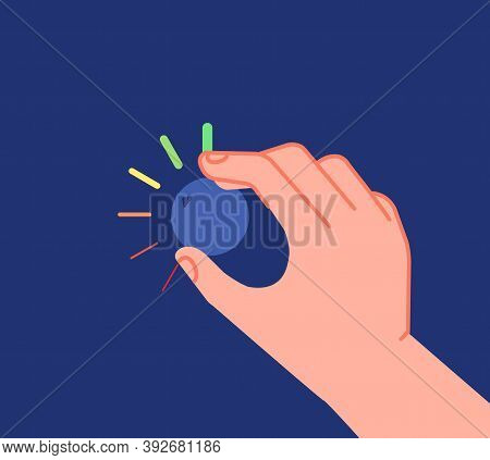 Hand Turns Button. Low High Levels, Volume Equalizer Or Change Reduction Knob. Businessman Setting I
