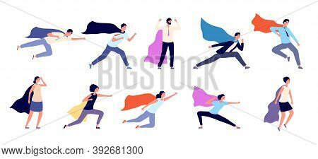 Business Superheroes. Cartoon Super Businessman, Man In Suit With Cape. Happy Professional, Hero Wor