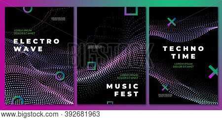 Techno Music Party Posters. Club Flyer, Electronic Dj Festival Design. Flow Sound Waves, Rock House