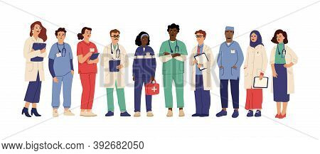 Hospital Team. Medical Employees In Uniform, Healthcare Workers Administrator Doctor. Pharmacist Cli
