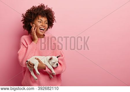 Happy Smiling Joyous Dark Skinned Female Carries Small Asleep French Bulldog Puppy, Wears Pink Jumpe