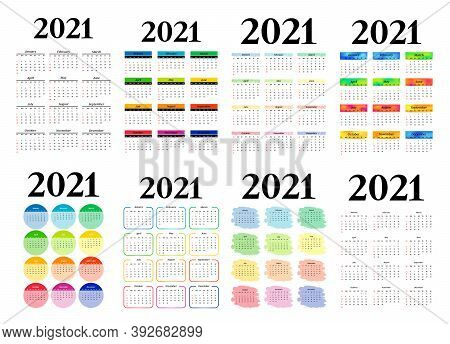 Set Of Eight Vertical Calendars For 2021 Isolated On A White Background. Sunday To Monday, Business