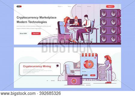 Cryptocurrency Marketplace Landing Pages Set. Cryptocurrency Exchange And Trading Corporate Website.