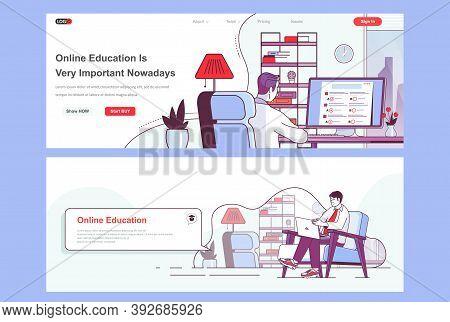 Online Education Landing Pages Set. Distance Learning, Educational Webinar Corporate Website. Flat L