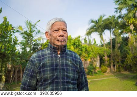Portrait Of An Elderly Asian Man Looking Way While Standing In A Garden.