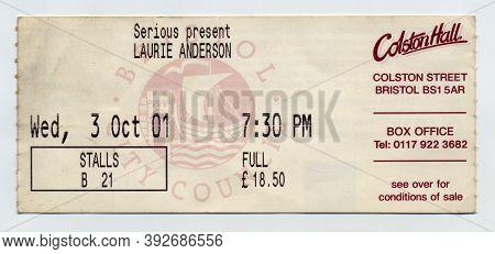 American Avant-garde Multimedia Artist Laurie Anderson Concert Ticket From October 2001