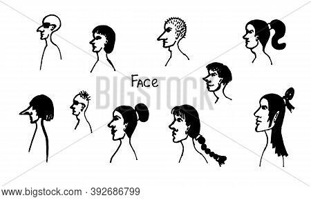 Half Face Silhouette. Vector Hand Drawn Ink Illustration. Collection Of Peoples Heads Side View. Sim