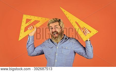 Precision Measurement Tool. Man Use Triangle. Math Or Mathematics. Stem Education Concept. Study Alg