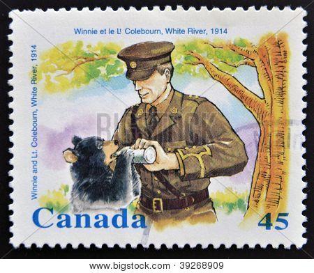 CANADA - CIRCA 1996: stamp printed in Canada shows Winnie and Lt. Coleboum white river circa 1996
