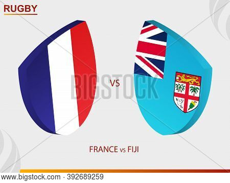 France V Fiji Rugby Match, Rugby Tournament. Vector Template.