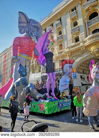 Nice, Cote D'azur, France - February 23, 2020: Nice Carnival (carnaval De Nice).  This Years Theme I